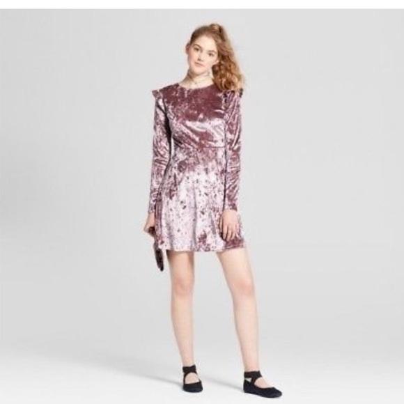 Women s velvet long sleeve dress Mauve size M 34718a0633